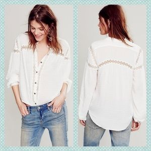 Free People Swiss Dot Lace Button Down Blouse